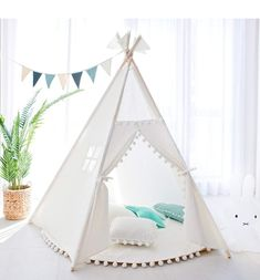 Tree Bud Kids Teepee Play Tent Indoor Outdoor Five Poles Indian Tents Toddlers Boys Girls Playhouse Pompom Lace Cotton Canvas Tipi With Carry Bag (White) - Top Teepee UK Kids Play Teepee, Toddler Playhouse, Childrens Teepee, Girls Playhouse, Indoor Playhouse, Toddler Bed, Play Tents, Kids Sleepover, Indoor Outdoor