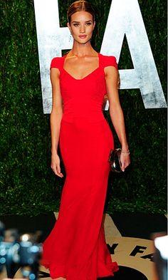 Evening Gown: Rosie Huntington-Whiteley in Antonio Berardi, Elegant Red Gown