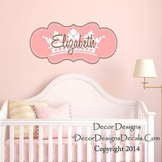 Pink Crown Custom Name Printed Fabric Repositionable Wall Decal Sticker