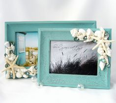 DIY Seashell Frame Crafts....frames for keepsakes from a holiday, or beach decor, bathroom decor...do-it-yourself!