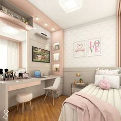 Room decor - Project @ architect leticiasantana And always a love project for girls ! Look at this room, has no charm With a lot of … architectleticiasa Room Design Bedroom, Girl Bedroom Designs, Room Ideas Bedroom, Home Room Design, Small Room Bedroom, Bedroom Furniture, Small Rooms, Bedroom Wall, Small Spaces
