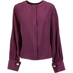 Oscar de la Renta Silk blouse (27.130 RUB) ❤ liked on Polyvore featuring tops, blouses, burgundy, silk blouse, silk top, burgundy silk blouse, embellished top and loose fitting tops