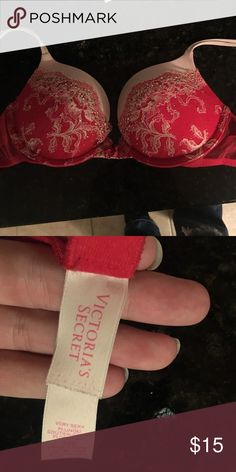 34B very sexy bra Red with little gems and lace! 34 B gently used great condition! Victoria's Secret Intimates & Sleepwear Bras