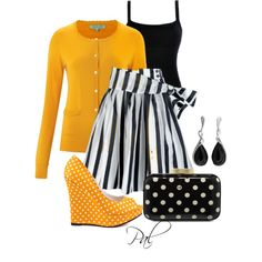 Fashion Style & Combination - Featuring Aurora Yellow, White, Black with Dots and Stripes Fashion Style - Michael Antonio