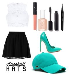 """""""Untitled #103"""" by nerlover ❤ liked on Polyvore featuring even&odd, Bebe, Lacoste, NARS Cosmetics, Essie, Chanel, Marc Jacobs, baseballcap and baseballhats"""