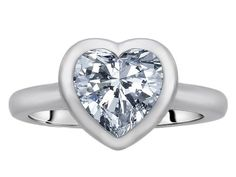 Original Star K(tm) 8mm Heart Shape Solitaire Engagement Ring With Genuine White Topaz