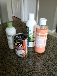 Coconut Milk & Castille Soap Shampoo  Take 1/3 cup of coconut oil, 1/4 cup of liquid castille soap, and 1 tbsp of olive or almond oil and mix together in a squeeze bottle.  DONE!   Just keep in your shower for up to one month and shake before use.