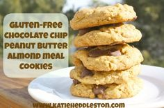 Pb& chocolate chip cookies (gluten-free made with almond meal and oats) Almond Meal Cookies, Gluten Free Chocolate Chip Cookies, Gluten Free Cookies, Cookie Recipes, Snack Recipes, Low Fat Snacks, Recipe Makeovers, Gluten Free Peanut Butter, Healthy Desserts