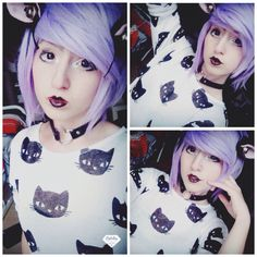 Pastel goth outfit  T-shirt : H&M Wig : ebay Ears ; ebay Choker : ebay Lipstick : clears  ChibiMikuXx