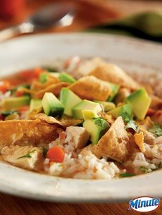 Quick and easy Chicken Tortilla Soup made with Minute Rice. A great recipe!