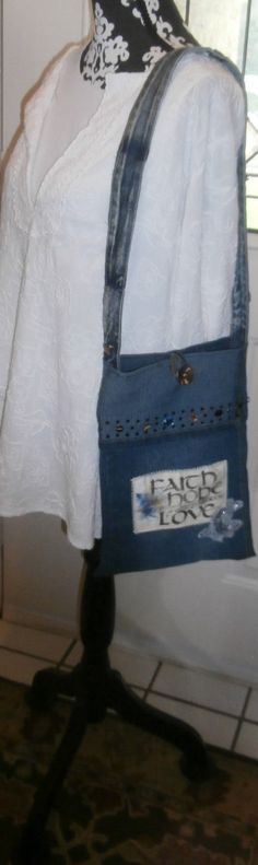 Faith Hope and Love Recycled Denim and Glitz 1 by CrossMyHeartBags