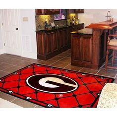 Georgia Bulldogs NCAA Floor Rug (4'x6') G Logo on Red