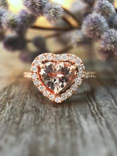 Heart Morganite and Diamond Engagement Ring by stonesandgold