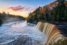"""A Misty Sunrise"" Tahquamenon Falls, Paradise, Michigan. Munising Falls, Michigan Waterfalls, Pictured Rocks National Lakeshore, Waterfall Photo, Largest Waterfall, State Of Michigan, Beautiful Waterfalls, Lake Superior, Fall Photos"