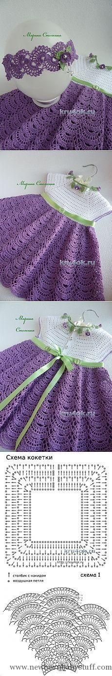 Crochet Child Costume A set for a lady – the work of Marina Stoyakina – crochet on kru4ok.ru Crochet Baby Dress