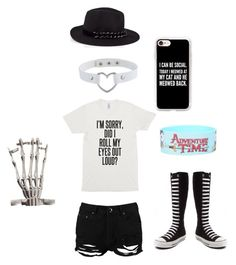 """Schemara's outfit #2"" by serenity-sempiternal2006 ❤ liked on Polyvore featuring Karl Lagerfeld, Boohoo, Casetify and Converse"