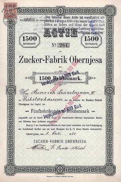 Obernjesa, Namens-Actie 1.500 Mark 1.7.1881. Gründeraktie (Auflage 500, R 8)  VF.