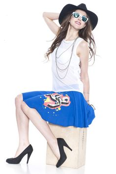 Arabic Printed/Solid Skater Skirt – Reviled