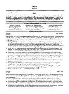project management executive resume example for professional with experience as senior level project manager for print and promotional materials production - Resume Sample For Project Manager