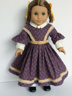 Day Dress for Addy Marie Grace Cecile by PeppersDollClothes Sewing Doll Clothes, Sewing Dolls, Ag Dolls, Girl Doll Clothes, Girl Dolls, American Girl Dress, American Girl Clothes, Day Dresses, Girls Dresses