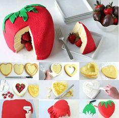 Strawberry surprise cake tutorial