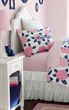 Mallory Quilted Collection #girls #bedrooms... Like the painted picture frames in accent color