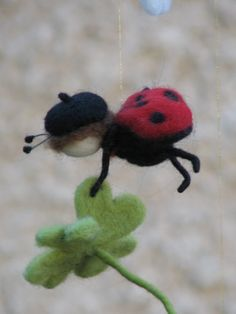 needle felted ladybug - How Cute is this??