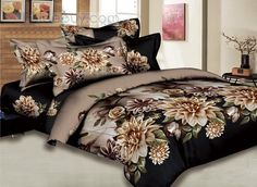 Camel 4 Pieces Comforter Bedding Sets with Various Flowers Printing : Tidebuy.com