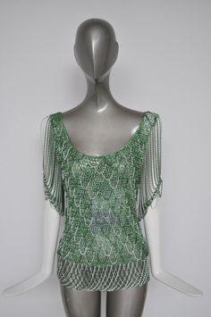Loris Azzaro vintage chain mail lurex top emerald green 1970s – Vintage Le Monde