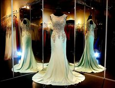Mint-Gold formfitting Evening Gown-Train-Illusion Bodice-Illusion Back-115CLAR045070550 at Rsvp Prom and Pageant, Atlanta, GA