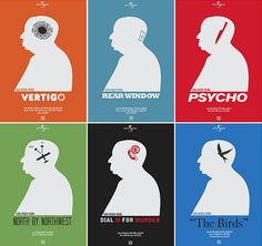 Reimagined Alfred Hitchcock movie posters. Love his movies!