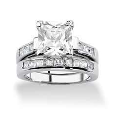 6.40 CT TW Princess-Cut DiamonUltra™ Cubic Zirconia Wedding Ring Set in Platinum over Sterling Silver at PalmBeach