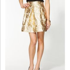 """Pim & Larkin jacquard holiday gold skirt Perfect holiday skirt! Beautiful metallic gold and cream jacquard skirt with fitted waist, inverted box pleats, full lining and side zip. Works well for all seasons! Worn once, it's just a bit too short for me. 15"""" waist, 18.75"""" length. Pim & Larkin Skirts"""