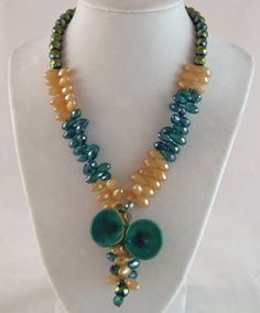 Cascading Crystal Necklace in Beautiful Spring Colors by DesignsByJuneBug on Etsy