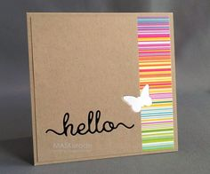 "handmade greeting card from MASKerade: Muse 73 - Hello ... kraft ... band of colorful striped paper ... ""hello"" embedded die cut in black ..."