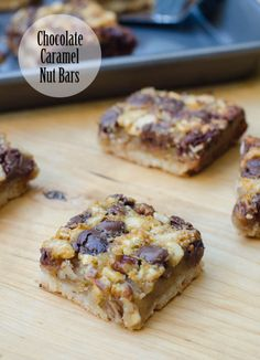The gooey pecan and cashew filling is topped with DelightFulls Milk Chocolate Morsels with Caramel Filling and baked over a shortbread cookie crust. ~ http://www.fromvalerieskitchen.com/wordpress