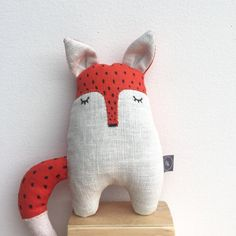 RED FOX  plushie soft toy linen doll stuffed by BILLOOboutique