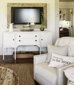DIY rustic wood framed tv