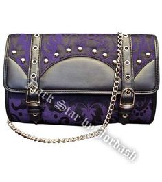 Dark Star - Purple Brocade & Leather Effect Handbag / Clutch Bag [DS/BG/7528_ppl] - £34.99 :
