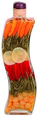 """Amazon.com: 17"""" Vinegar Bottle Infused with Yellow Chili, Rosemary, Lemon Slice, Red Chili, Kumquat, and Vinegar: Home & Kitchen"""
