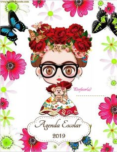 Agenda escolar 2019 ACTUALIZADA Frida Kahlo para imprimir - AYUDA DOCENTE Frida Kahlo Cartoon, Frida Kahlo Costume, Bullet Journal Inspiration, Life Planner, Hama Beads, Home Schooling, Princess Peach, Origami, Decoupage