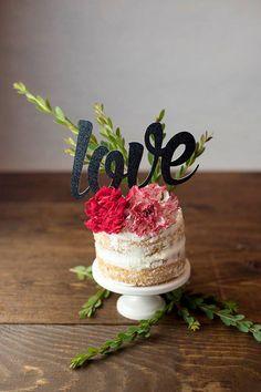 Love Cake Topper - Black Glitter Card Stock