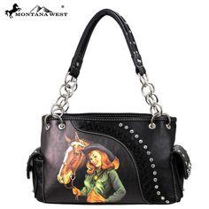 Montana West Vintage Look Cowgirl Rhinestone Lacing Black Western Purse SALE…