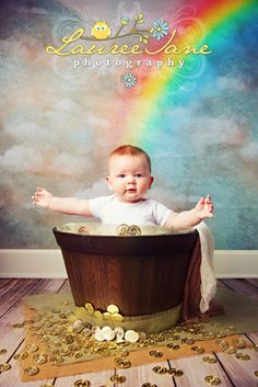 St. Patrick's Day Baby Photo Idea, St. Patrick's Day Newborn Photo Idea, Pot of Gold, Rainbow, Clouds, Baby Holiday Photographer Erie, PA, Lauree Jane Photography