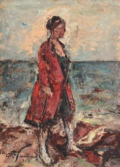 Gheorghe Petrascu Woman on the Seashore 1927 (Private Collection) Tours France, Portrait Images, Venice Biennale, Post Impressionism, Vintage Artwork, Old Master, Renoir, Beach Art, Art World