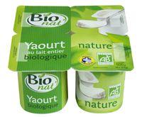 Yaourt nature au lait entier bio Bio nat'