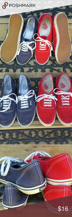 2 pairs of gently used Vans 8men/9.5women red/blu 2 pairs of Vans sneakers. Both size 8 men/9.5 Women. Gently used. The red pair was rinsed to avoid bleeding on socks in rain and the insides have a bit of red dye but both are in good condition. Check out my other items to bundle and save. Thank you and ask me any questions! Vans Shoes Sneakers