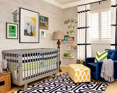 Charming Baby Room Art Ideas : Awesome Contemporary Kids Baby Room Art Ideas With Wooden Stand Lamp Grey Baby Crib Blue Velvet Armchair Wicker Basket And White Curtain With Black Stripes