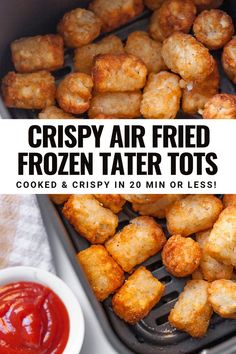 This easy recipe for Air Fryer Tater Tots shows you exactly how long to cook tater tots from frozen. You can use any air fryer to make them including the popular Ninja Foodi and you can also use any bag of frozen tater tots.. Crispy tater tots can be used to make casseroles, breakfast burritos or even just eaten plain to save time in the kitchen. This will be one of your favorite easy air fryer potato recipes! Air Fryer Recipes Tater Tots, Tater Tot Recipes, Air Fryer Dinner Recipes, Air Fryer Recipes Easy, Potato Recipes, Potato Dishes, Oven Recipes, Air Fryer Cooking Times