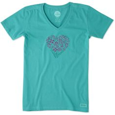 Life is Good T Shirts, clothing and accessories at Jakes Good Newport: Life is Good: WOMENS CRUSHER VEE: FLORAL HEART LOVE - BRIGHT TEAL T-Shirts, Hats, Gear, Tees, Shorts, Pants, Dog Products, Accessories, other Clothing